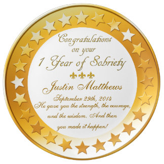 Personalized 1 Year Sobriety Anniversary Plate