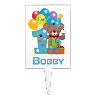 Personalized 1st Birthday Bear Clown Cake Topper