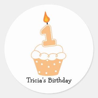 Personalized 1st Birthday Cupcake Stickers