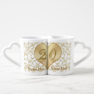 Personalized 20 Year Wedding Anniversary Gift Mugs Lovers Mugs