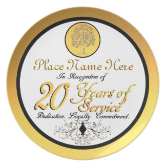Personalized 20 Years of Service Plate/Plaque Plate