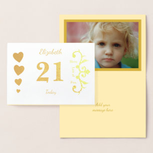 Personalized 21st Birthday Gold Foil Card