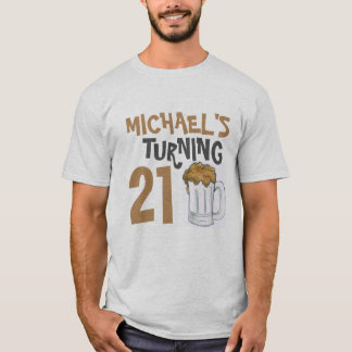 Personalized 21st Birthday Party Beer Drinking T-Shirt