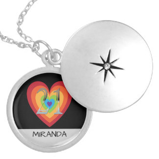 Personalized 21st Birthday | Rainbow Heart Name Locket Necklace