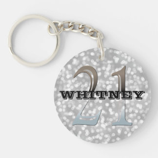 Personalized 21st Birthday | Silver Bokeh Name Key Ring