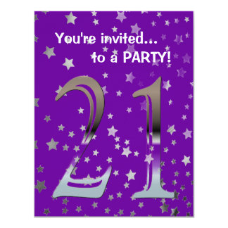 Personalized 21st Birthday Silver Number 21 11 Cm X 14 Cm Invitation Card