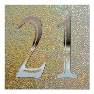 Personalized 21st Birthday Silver Number 21 13 Cm X 13 Cm Square Invitation Card