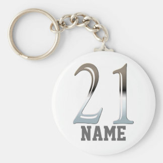 Personalized 21st Birthday Silver Number 21 Basic Round Button Key Ring