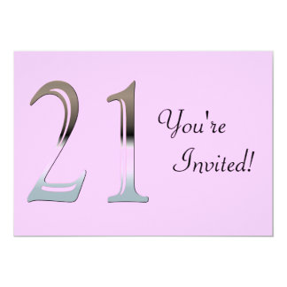 Personalized 21st Birthday Silver Number 21 13 Cm X 18 Cm Invitation Card