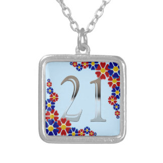 Personalized 21st Birthday Silver Number 21 Custom Jewelry