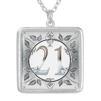 Personalized 21st Birthday Silver Number 21 Silver Plated Necklace