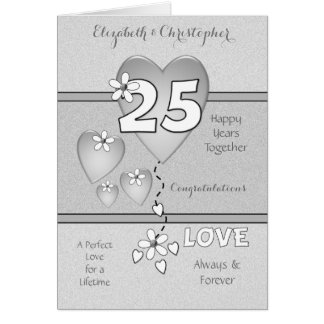 Personalized 25th Silver Wedding Anniversary Card