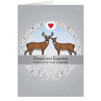 Personalized 25th Wedding Anniversary, Buck & Doe Card