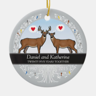 Personalized 25th Wedding Anniversary, Buck & Doe Ceramic Ornament