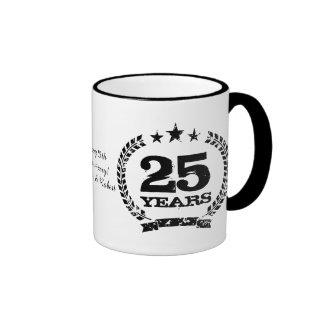 Personalized 25th wedding anniversary coffee mugs
