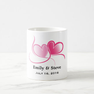 Personalized 2 Hearts Wedding Date Coffee Mug