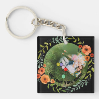 Personalized 2 Photos | Floral Mom Mother's Day Key Ring