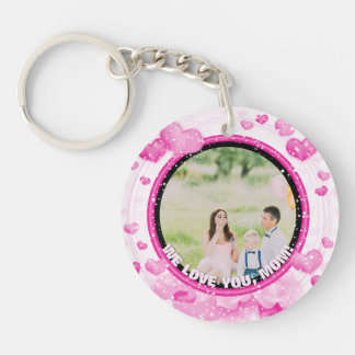 Personalized 2 Photos   For Mom Pink Hearts Key Ring