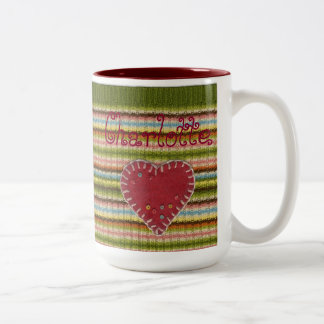 Personalized 2-tones Big Mug with Knitted Pattern