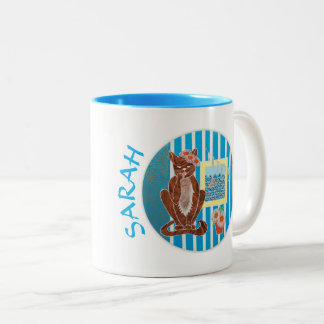Personalized 2-tones Mug Best Girlfriend with Cat