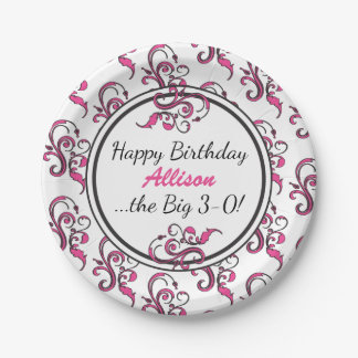 Personalized 30th Birthday Pink Swirls Paper Plate