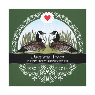 Personalized 35th Wedding Anniversary, Geese Canvas Print