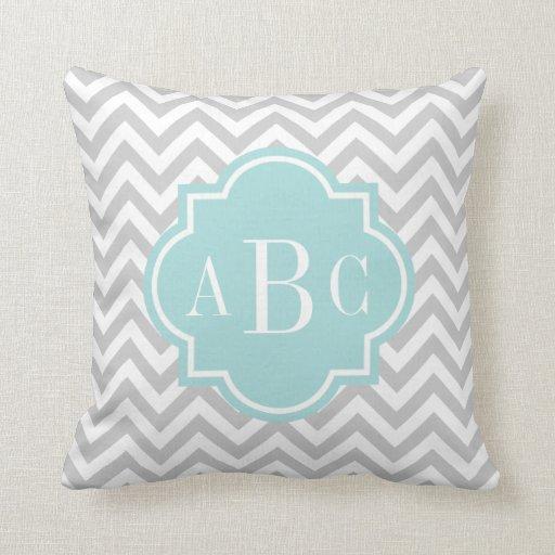 Personalized 3 letter monogram throw pillow | gray throw pillows