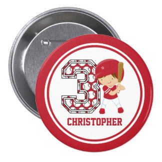 Personalized 3rd Birthday Baseball Batter Red Pins