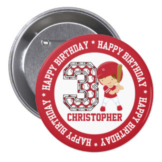 Personalized 3rd Birthday Baseball Batter Red Button