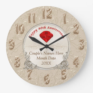 Personalized 40th Anniversary Gifts Ruby Large Clock