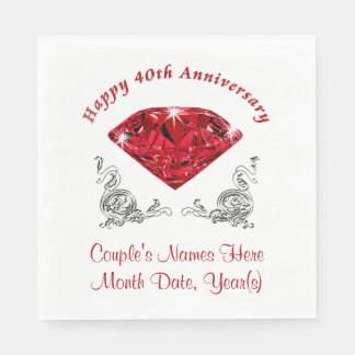 Personalized 40th Anniversary Napkins, Ruby Disposable Napkins
