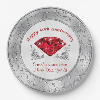 Personalized 40th Anniversary Paper Plates