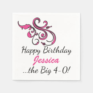 Personalized 40th Birthday Paper Serviettes