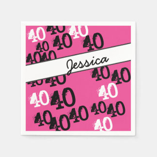 Personalized 40th Birthday Party Napkins Wild Pink Paper Serviettes