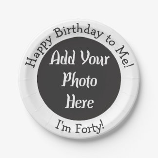 Personalized 40th Birthday Photo 7 Inch Paper Plate