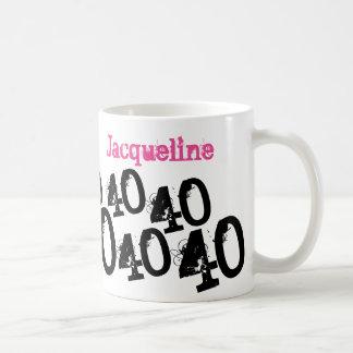 Personalized 40th Birthday Pink Basic White Mug