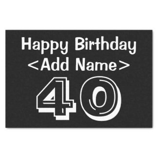 Personalized 40th Birthday Themed Tissue Paper