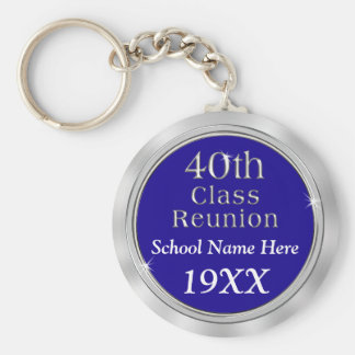 Personalized 40th Class Reunion Gifts, Your Colors Basic Round Button Key Ring
