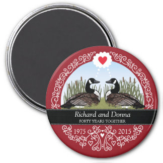Personalized 40th Wedding Anniversary, Geese 7.5 Cm Round Magnet