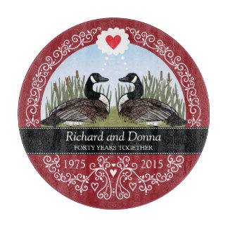 Personalized 40th Wedding Anniversary, Geese Cutting Boards