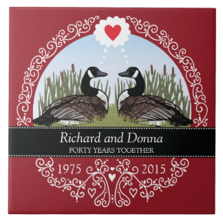 Personalized 40th Wedding Anniversary, Geese Large Square Tile