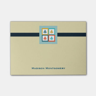 Personalized 4 Christmas Trees Retro Design Post-it Notes
