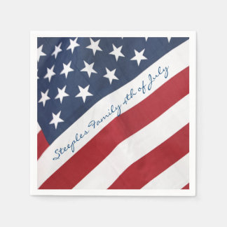 Personalized 4th of July American Flag Napkin Paper Napkin