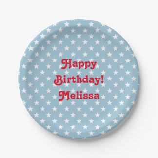 Personalized 4th of July Birthday party plates 7 Inch Paper Plate
