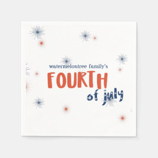 Personalized 4th of July Fireworks Paper Napkins Disposable Napkin