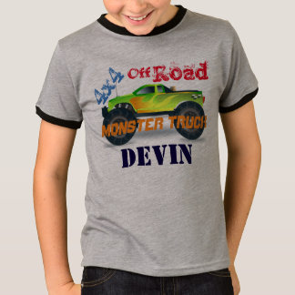 Personalized 4x4 Green Monster Truck T-Shirt