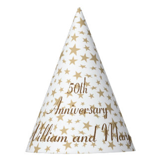 Personalized 50th Anniversary Golden Stars Party Hat