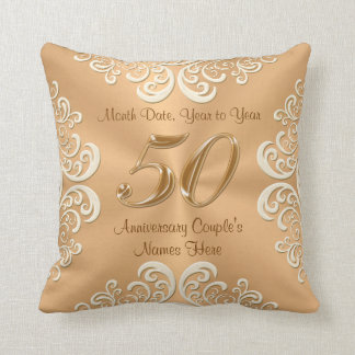 Personalized 50th Anniversary Pillow Names, Date