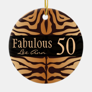 Personalized 50th Birthday Animal Print Ornament