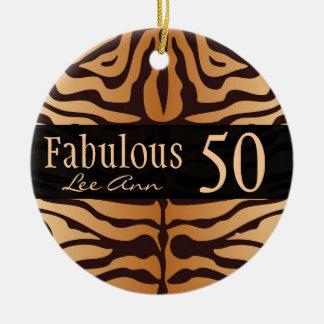 Personalized 50th Birthday Animal Print Ornament